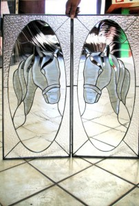 Horses Stained Glass Kitchen Doors