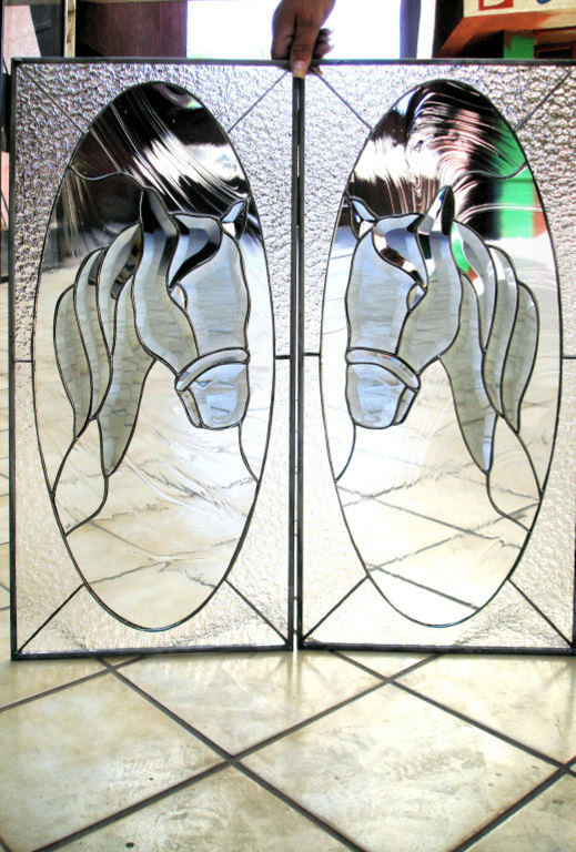 Custom Made Stained Glass Panels for Cabinet Doors :: Stained in Glass