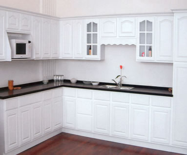 soft white kitchen cupboards with granite countertops