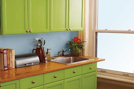 Spray Painted Replacement Kitchen Cabinet Doors