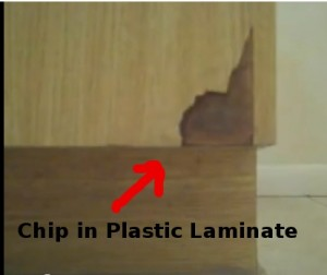 Chip in Formica Cabinet Door